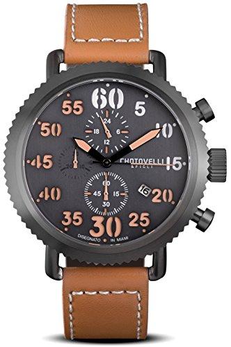Chotovelli Vintage Pilot Men Watch Chronograph display Italian leather Strap 7200 - Uboat Watches