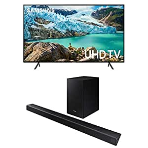 Samsung UN65RU7100FXZA Flat 65'' 4K UHD 7 Series Smart TV (2019) with HW-R550 Sound Bar