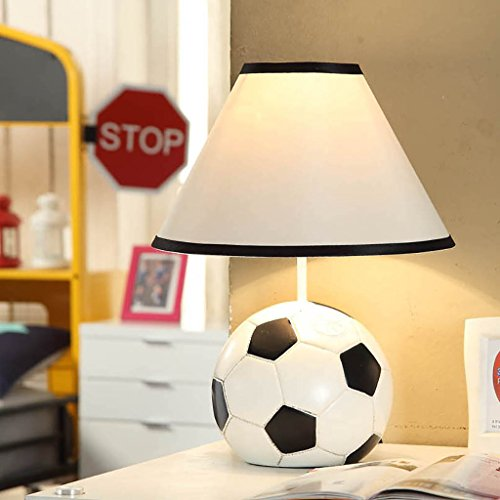 YXW table lamp Creative European-style Mediterranean fashion children's living room study bedside lamp table lamp new soccer table lamp (2 kinds of switch optional) (Style : Dimming switch) by YXW