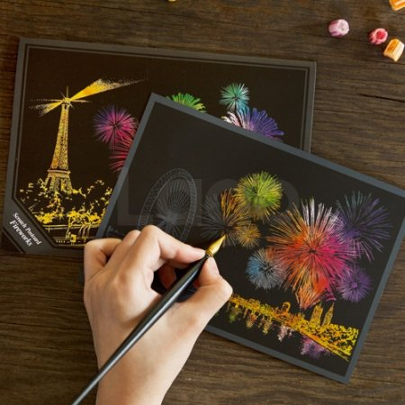 Lago Scratch Coloring Postcard Fireworks/Set of 4/1 Scratch Stylus by Lago Design
