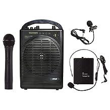 Pyle PWMA1216BM Portable Pa speakers Bluetooth 1 Handheld Microphone 1 Belt, Mic-karaoke speaker