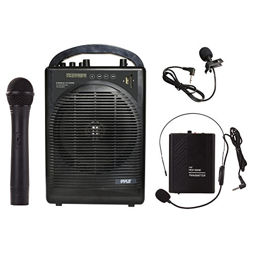 Pyle Portable Outdoor PA Speaker Amplifier System & Microphone Set with Bluetooth Wireless Streaming, Rechargeable Battery - Works with Mobile Phone, Tablet, PC, Laptop, MP3 Player - PWMA1216BM (Portable Microphone Speaker)
