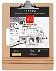 Arteza Sketch Board, 13 x 17 Inches, Sturdy Artist Tote Board with Handle, 1 Sturdy Clip, and 3 Rubber Bands, Art Supplies to Carry, Organize, and Secure Artwork