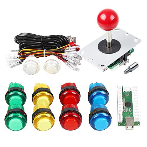 - Gamelec Arcade Buttons Joystick Kit Joystick Shaft Extender Raspberry Pi Retro Pie System PC Video Games, Zero Delay USB Encoder Colored LED Illuminated Push Buttons DIY Kit