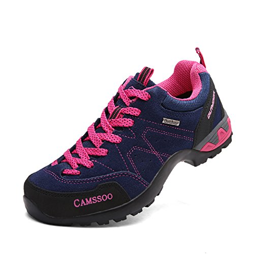 country Blue Leather Womens Mesh CAMSSOO Cushioning Suede Hiking Shoe Cross Running Outdoors 6wPPnY