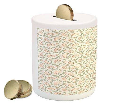 Lunarable Floral Piggy Bank, Ornamental Blooms of Art Nouveau Beauty Essence Leaf Bouquet Design, Printed Ceramic Coin Bank Money Box for Cash Saving, Dark Coral Peach Sage (Nouveau Leaves)