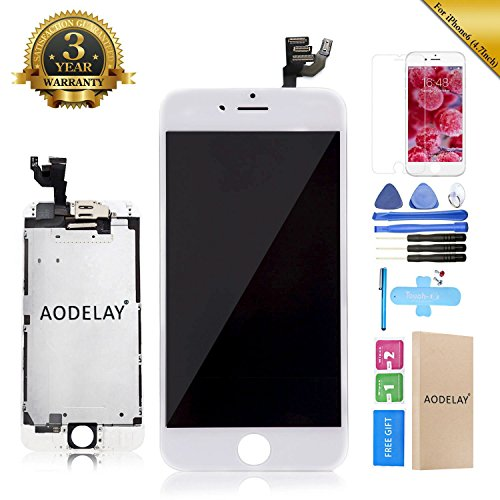 LCD Touch Screen Display Digitizer Replacement Assembly Full Set Compatible For iPhone 6 4.7 Inch Repair Tool Kit (White)