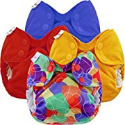 Blueberry Newborn Simplex All in One Cloth Diapers, Bundle of 4, Made in USA (Primary Colors)