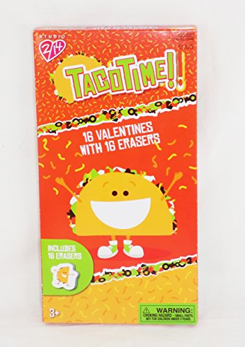 Taco Time Valentine Day Exchange Sharing Cards with Erasers