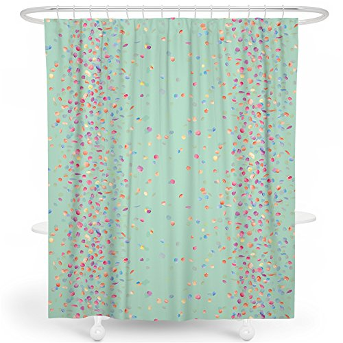 SimbaDeco Shower Curtain, Bright Green Background with Colorful Little Leaves Design for Bathroom Decoration Water-Proof (Green, 72 X 72) -