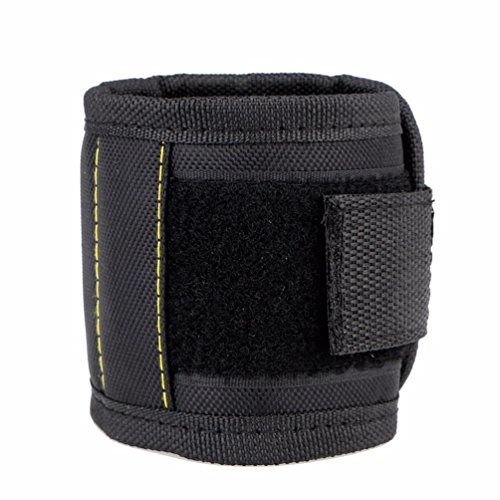 Aoxsen Magnetic Wristband With 5 Powerful Magnets Tool Holder Bag For Holding Screws  Nails  Scissors  And Small Tools  Screwdriver Bits  Auto Repair Small Metal Tools  Black 5 Magnet