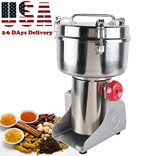 Genmine Electric Grain Grinder Mill Machine Commercial 1000g Kitchen Herb Spice Pepper Coffee Grinder Powder Swing Type for Herb Pulverizer Food Grade Stainless Steel (Shipping From USA) by genmine (Image #9)