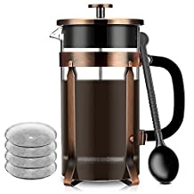 French Coffee Press Maker, Famirosa Glass French Press Kit Machine (8 Cup, 1 liter, 34 Oz, Extra 4 filters) for Coffee Tea Camping Office