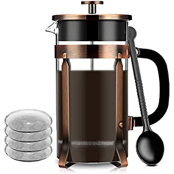 French Coffee Press Maker, Famirosa Glass French Press Kit Machine (8 Cup, 1 liter, 34 Oz) for Coffee Tea Camping Office