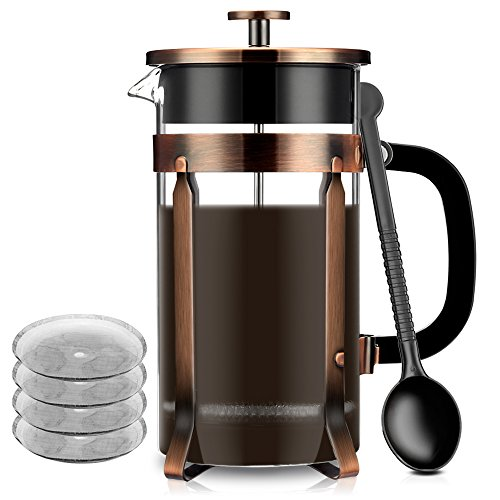 French Coffee Press Maker, Famirosa Glass French Press Kit Machine (8 Cup, 1 liter, 34 Oz) for Coffee Tea Camping Office (Tea French Press Carafe)