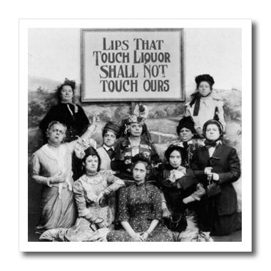3dRose ht_46926_1 Lips That Touch Liquor-Prohibition Poster, Prohibition, Humor, Funny-Iron on Heat Transfer Paper for White Material, 8 by 8-Inch ()