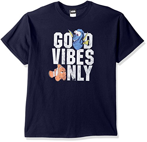 Disney Men's Finding Dory Marlin Good Vibes Only Graphic T-Shirt, Navy, Medium