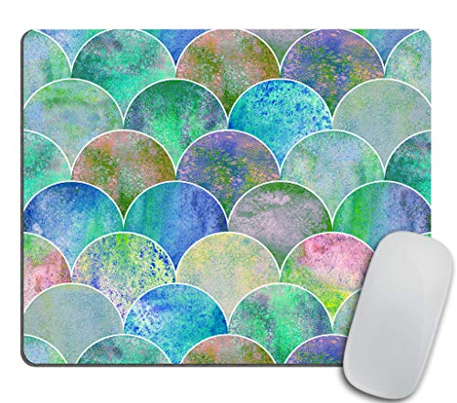 Hand Drawn Watercolor - Fish Scale Ocean Wave Japanese Mouse pad, Watercolor Hand Drawn Blue Teal Colorful Texture Background Personality Rectangle Non-Slip Gaming Mouse Pad