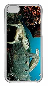 iPhone 5C Case, Personalized Custom Two Green Sea Turtle for iPhone 5C PC Clear Case by lolosakes