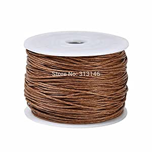 MGIE Durable 100yds/Spool 1MM Brown Waxed Cotton Cord Beading Craft Shamballa DIY Jewelry Making String Thread Wire Rope Accessories