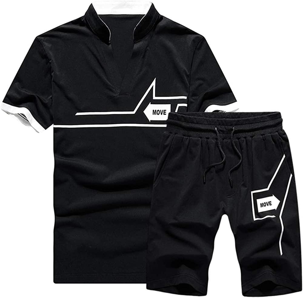 TRACKSUIT Mens Casual V Neck Short Sleeve T-Shirts and Shorts Summer Activewear Athletic Sports Suit Set