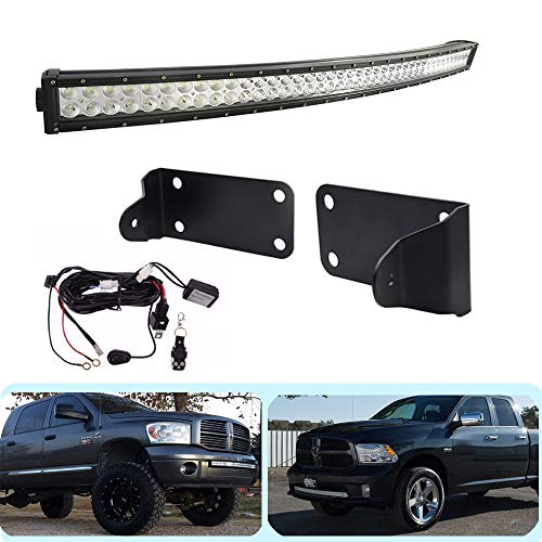 "DaSen For 42"" 240W Double Row Curved LED Light Bar W/Hidden Bumper Mounting Bracket & Remote Control Wiring kit Fit 2010-2019 Dodge Ram 2500 3500"