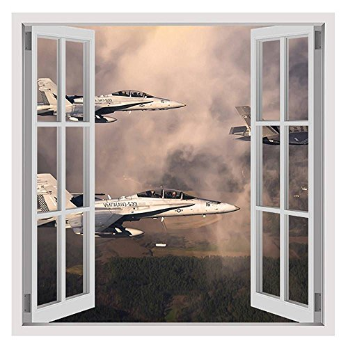 Alonline Art - Fighter Jets In The Clouds by Fake 3D Window | framed stretched canvas on a ready to hang frame - 100% cotton - gallery wrapped | 24