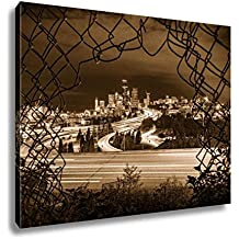 Ashley Canvas Seattle City Night Long Exposure Framed By Chain Link Fence, Kitchen Bedroom Living Room Art, Sepia 24x30, AG6537493