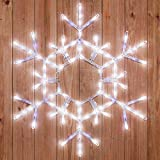 "Kringle Traditions 36"" LED Folding Twinkle Snowflake Christmas Decoration, Cool White Lights"