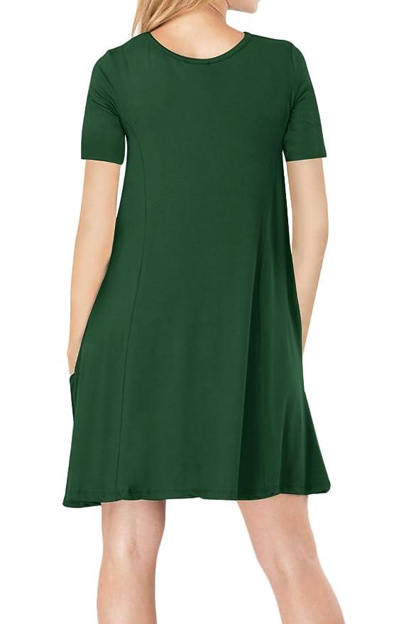 YMING Damen Kurzarm Kleid Lose T-Shirt Kleid Rundhals Casual Tunika mit  Taschen Midi Kleid,Grün,L DE 40-42  Amazon.de  Bekleidung 566fc0d6b3