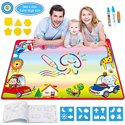 ZGWJ Aqua Magic Doodle Mat,Kids Large Water Drawing Mat Painting Board with 2 Magic Pens,1 Magic Brush and 8 Molds,Educational Toy Gift for Boys Girls,30.3