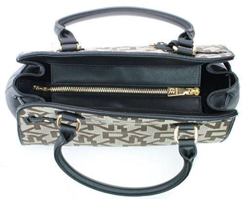 Logo Black Embossed 260 Donna Karan Bag RRP DKNY Hand Canvas Brown Shoulder WI14Tq