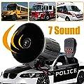 Shentesel 12V 50W Loud 7 Sounds Tone Horn Siren Speaker Alarm for Car Motor Van Truck - Black