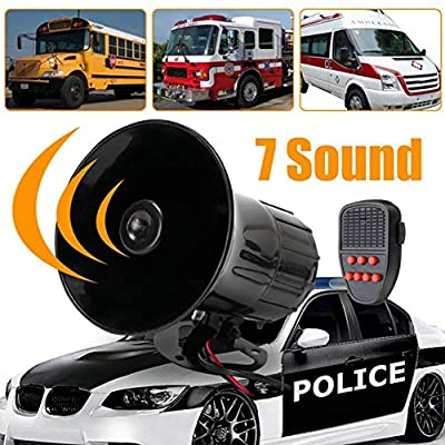 Shentesel 12V 50W Loud 7 Sounds Tone Horn Siren Speaker Alarm for Car Motor Van Truck - Black