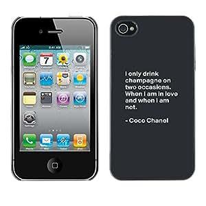 TopCaseStore / la caja del caucho duro de la cubierta de protección de la piel - Coco Quote Fashion Motivational Design - Apple iPhone 4 / 4S
