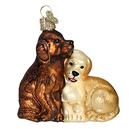 Old World Christmas Ornaments: Puppy Love Glass Blown Ornaments for Christmas Tree ()