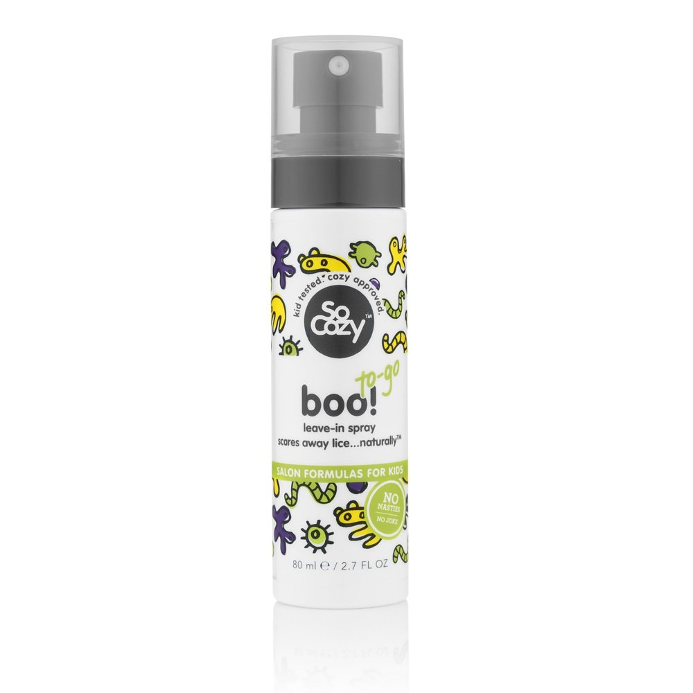 SoCozy Boo! Lice Scaring Spray (Travel Size) For Kids Hair | Scare Away Lice with Tea Tree, Rosemary and Peppermint Oils | 2.7 fl oz | No Parabens, Sulfates, Synthetic Colors or Dyes