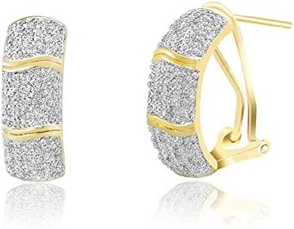 Lumineux Diamond Womens White or Yellow Gold Plated Brass Pave Set Diamond Accent Half Hoop Omega Earrings