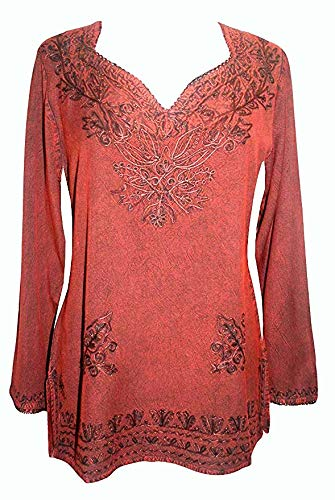 720 B Womens Bohemian Medieval Gypsy Embroidered Top Blouse Tunic (3X, B. Red)