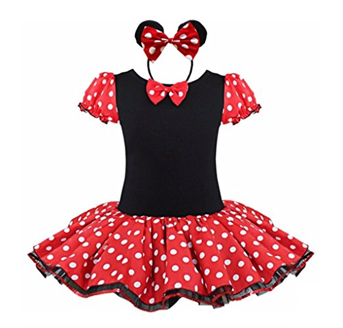 [Rush Dance Happy Birthday Girl 2 Pcs Mickey Tutu Dress Pettiskirt & Headband Set (4T)] (Third Leg Costume)
