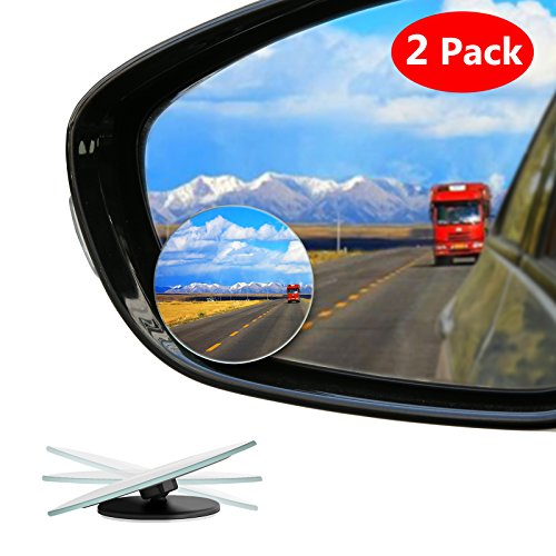 Blind Spot Mirror Frameless LIBERRWAY Wide Angle Mirror Adjustable Convex Rear View Mirror 360°Rotate for All Universal Vehicles Car Stick on Design 2 Pack