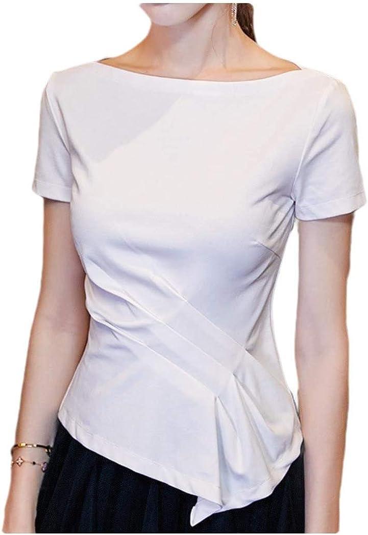 HEFASDM Womens Slim Fitting Smocked Waist Tee Elegant Short-Sleeve T-Shirt