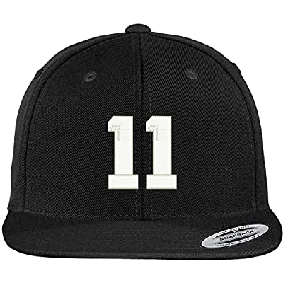 Trendy Apparel Shop Number 11 Collegiate Varsity Font Embroidered Flat Bill Snapback Cap