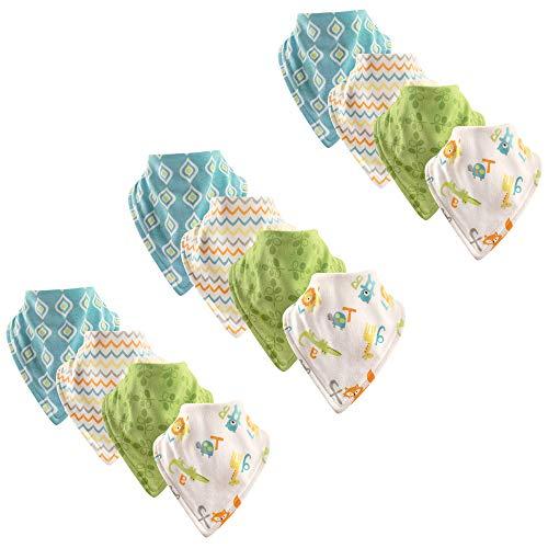 Luvable Friends Baby Basic Cotton Bandana Bib Set, ABC 12 Pack, One Size