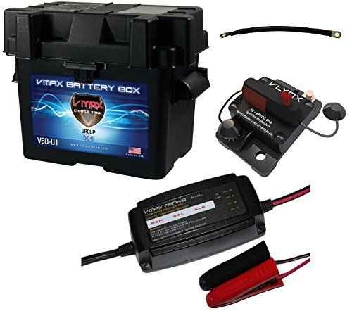 "VMAXTANKS Trolling Motor Battery Box Kit: Marine Grade U1 Box + Smart Charger/Tender + 9"" Cable, Circuit Breaker kit for U1 size batteries"