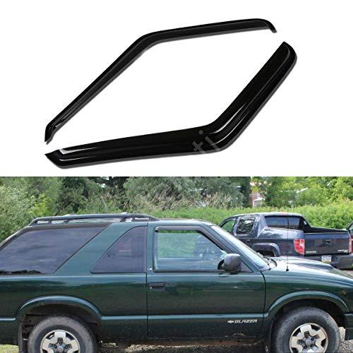 itelleti 2pcs Outside Mount Front Doors Dark Smoke Sun/Rain Guard Tape-On Auto Window Visors For 95-05 Chevy Blazer/GMC Jimmy 2-Door 94-04 S10 Pickup/S15 Sonoma Truck 96-00 Isuzu Hombre