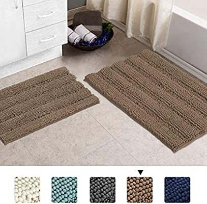 amazon com shaggy chenille bath rug bathroom rugs and mats sets 2 rh amazon com Marvel Bathroom Sets Amazon Leaper Set