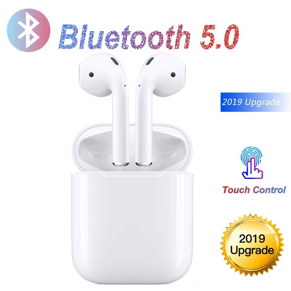 Wireless Bluetooth Touch Headset, HD Subwoofer 3D Stereo Surround Headphone, Noise Reduction In-Ear Sports Headphone with Magnetic Charge Box, Compatible with Apple Huawei Android iPhone