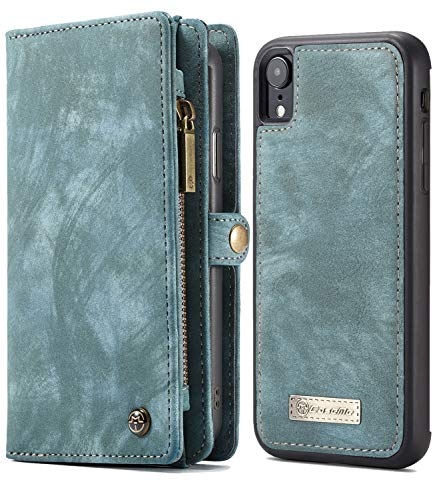 iPhone XR Wallet Case, iPhone Xr 6.1 Magnetic Detachable Slim Cover, XRPow Vegan Leather Folio Wallet Removable Back Cover Card Slots Holder Shock Protection Zipper Wallet Case Blue