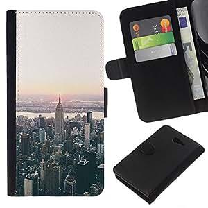 KingStore / Leather Etui en cuir / Sony Xperia M2 / York visión aérea de Sunrise;